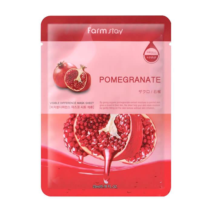 Купить Тканевая маска FarmStay Visible Difference Pomegranate Mask Pack, Омолаживающая тканевая маска для ухода за кожей лица с экстрактом граната, Южная Корея