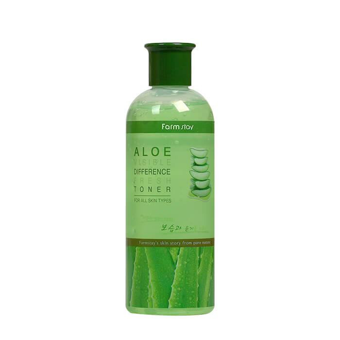 Купить Тонер для лица FarmStay Visible Difference Fresh Toner Aloe, Увлажняющий тонер для снятия раздражения кожи лица с экстрактом алоэ вера, Южная Корея