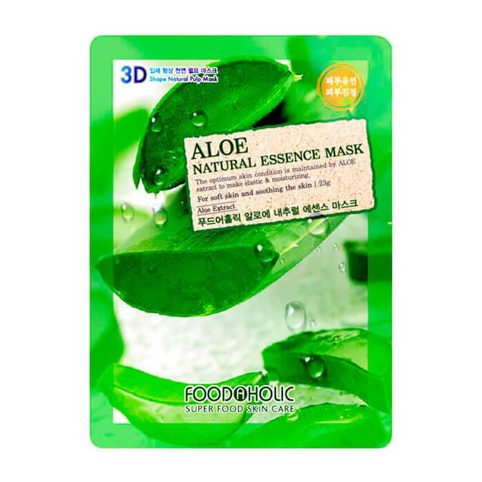 Купить 3D Маска для лица FoodaHolic Aloe Gram Natural Essence 3D Mask, Тканевая 3Д маска для лица с натуральным экстрактом сока алое вера, Южная Корея