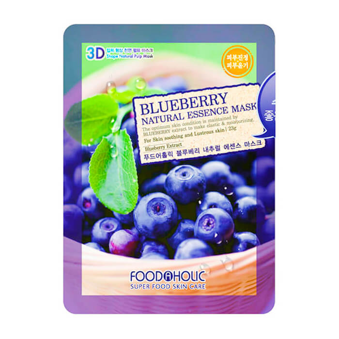 Купить 3D Маска для лица FoodaHolic Blueberry Natural Essence 3D Mask, Тканевая 3Д маска для лица с натуральным экстрактом черники, Южная Корея