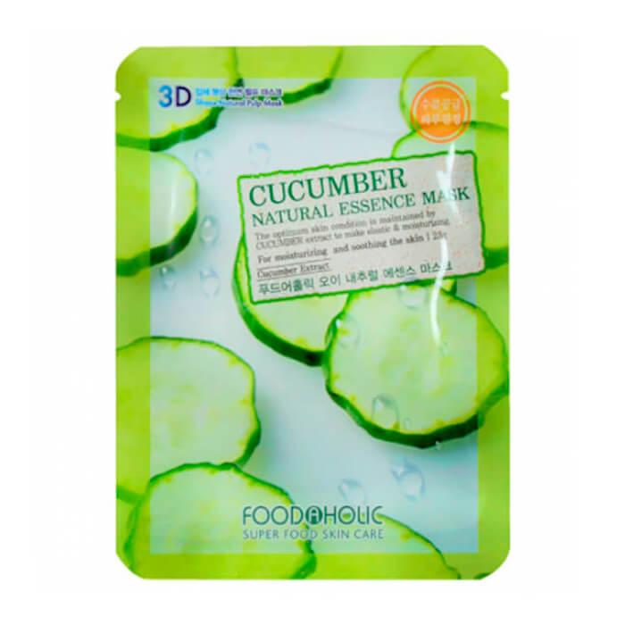 Купить 3D Маска для лица FoodaHolic Cucumber Natural Essence 3D Mask, Тканевая 3Д маска для лица с натуральным экстрактом огурца, Южная Корея