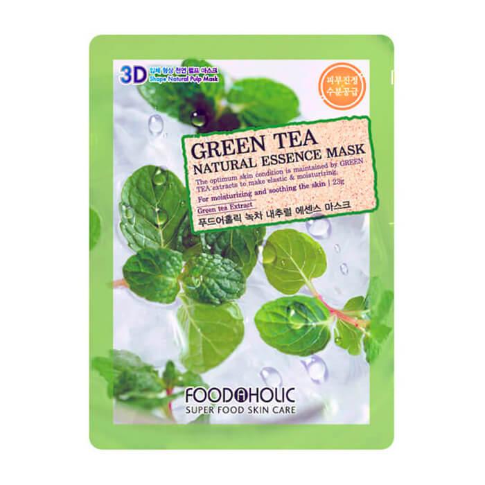 Купить 3D Маска для лица FoodaHolic Green Tea Natural Essence 3D Mask, Тканевая 3Д маска для лица с натуральным экстрактом зелёного чая, Южная Корея