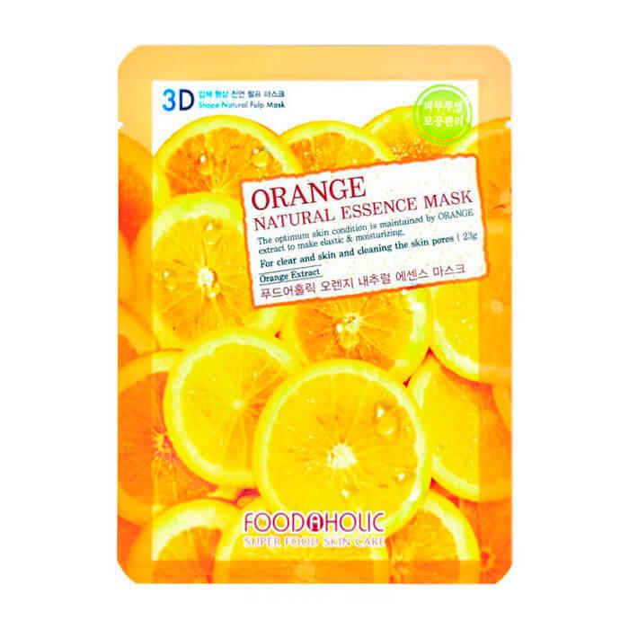 Купить 3D Маска для лица FoodaHolic Orange Gram Natural Essence 3D Mask, Тканевая 3Д маска для лица с натуральным экстрактом апельсина, Южная Корея