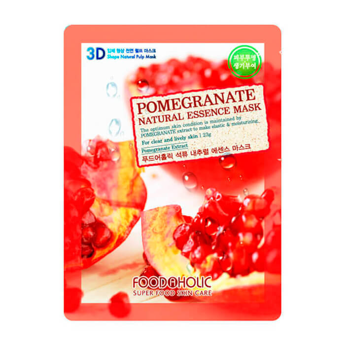 Купить 3D Маска для лица FoodaHolic Pomegranate Natural Essence 3D Mask, Тканевая 3Д маска для лица с натуральным экстрактом граната, Южная Корея