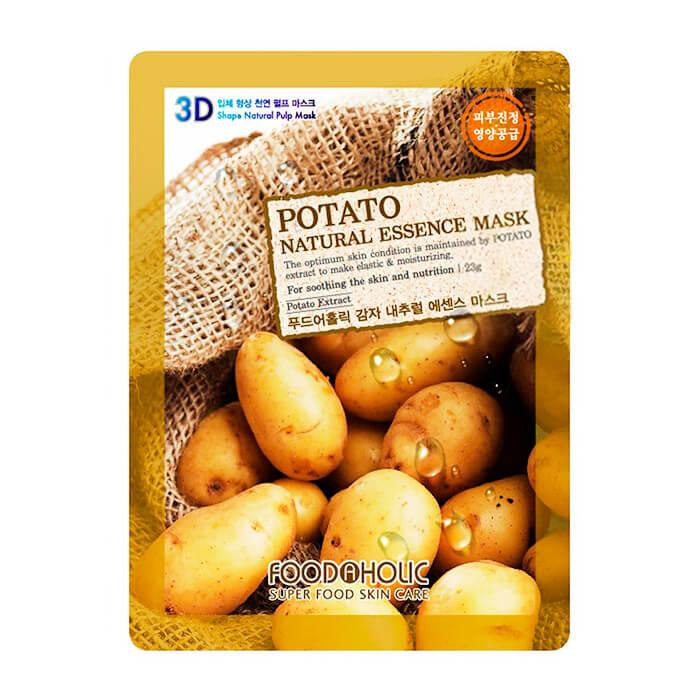 Купить 3D Маска для лица FoodaHolic Potato Natural Essence 3D Mask, Тканевая 3Д маска для лица с натуральным экстрактом картофеля, Южная Корея