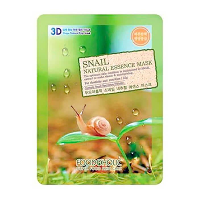 Купить 3D Маска для лица FoodaHolic Snail Natural Essence 3D Mask, Тканевая 3Д маска для лица с натуральным экстрактом слизи улитки, Южная Корея