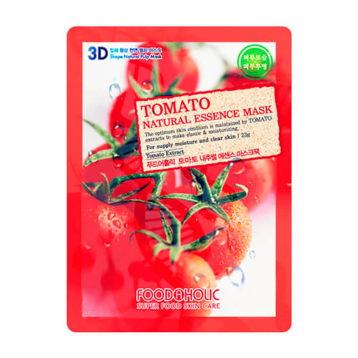 Купить 3D Маска для лица FoodaHolic Tomato Natural Essence 3D Mask, Тканевая 3Д маска для лица с натуральным экстрактом томата, Южная Корея