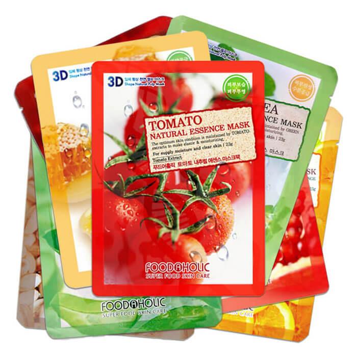 Купить Набор 3D масок для лица FoodaHolic - Улучшение, Набор из 8 тканевых 3Д масок для улучшения цвета лица и снятия раздражений, Южная Корея