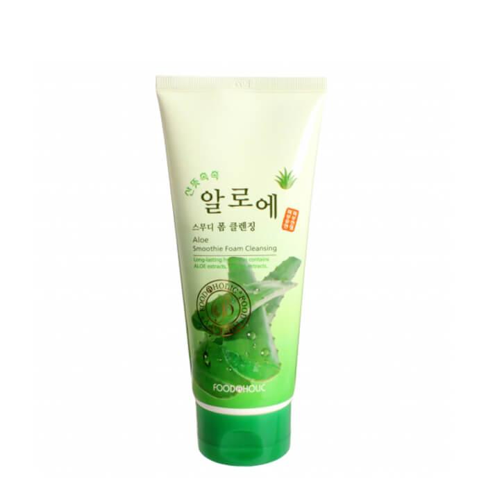 Купить Очищающая пенка FoodaHolic Aloe Smoothie Foam Cleansing, Пенка для умывания лица с натуральным экстрактом алое, Южная Корея