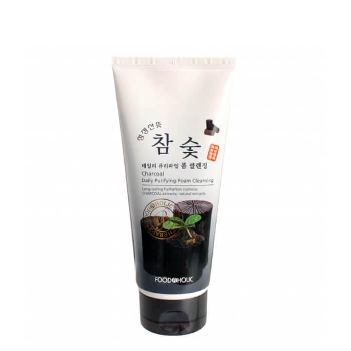 Купить Очищающая пенка FoodaHolic Charcoal Daily Purifying Foam Cleansing, Пенка для умывания лица с древесным углём, Южная Корея