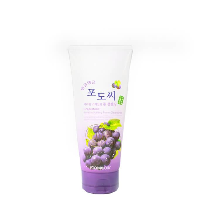 Купить Очищающая пенка FoodaHolic Grapestone Keratin Scaling Foam Cleansing, Пенка для умывания лица с натуральным экстрактом виноградных косточек, Южная Корея