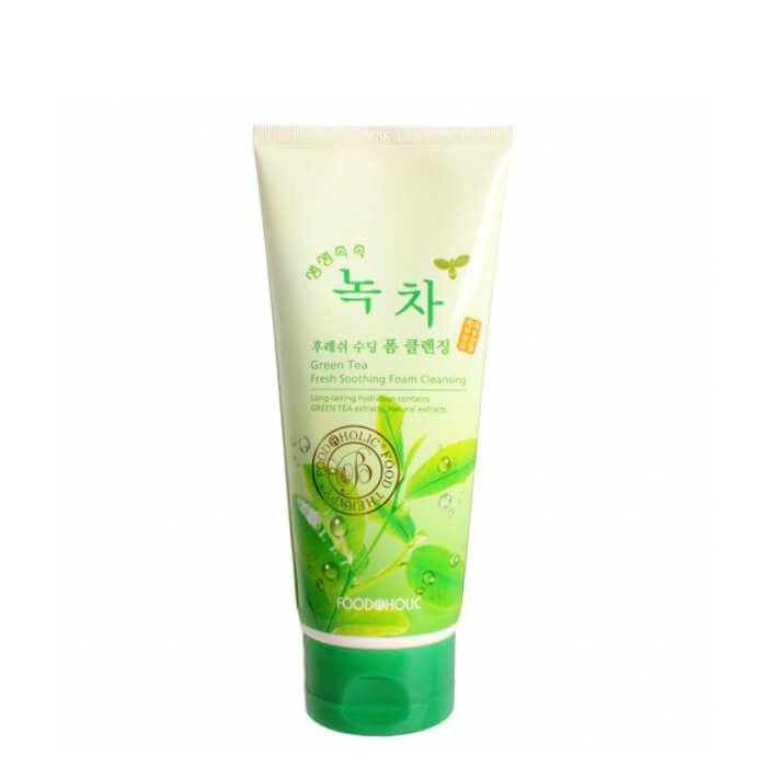 Купить Очищающая пенка FoodaHolic Green Tea Fresh Soothing Foam Cleansing, Пенка для умывания лица с экстрактом зелёного чая, Южная Корея