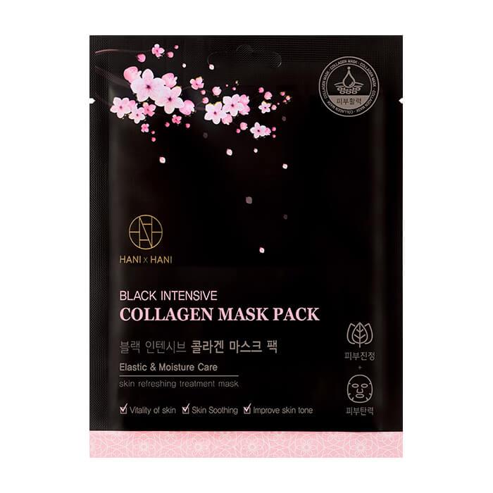 Купить Тканевая маска HANIxHANI Black Intensive Collagen Mask Pack, Увлажняющая тканевая маска для лица с коллагеном и гиалуроновой кислотой, Южная Корея