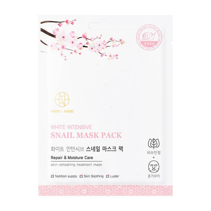 Тканевая маска HANIxHANI White Intensive Snail Mask Pack Восстанавливающая тканевая маска для лица с фильтратом секрета улитки фото