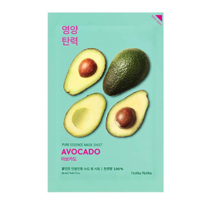 Купить Маска для лица Holika Holika Pure Essence Mask Sheet - Avocado, Смягчающая тканевая маска для лица с экстрактом авакадо, Южная Корея