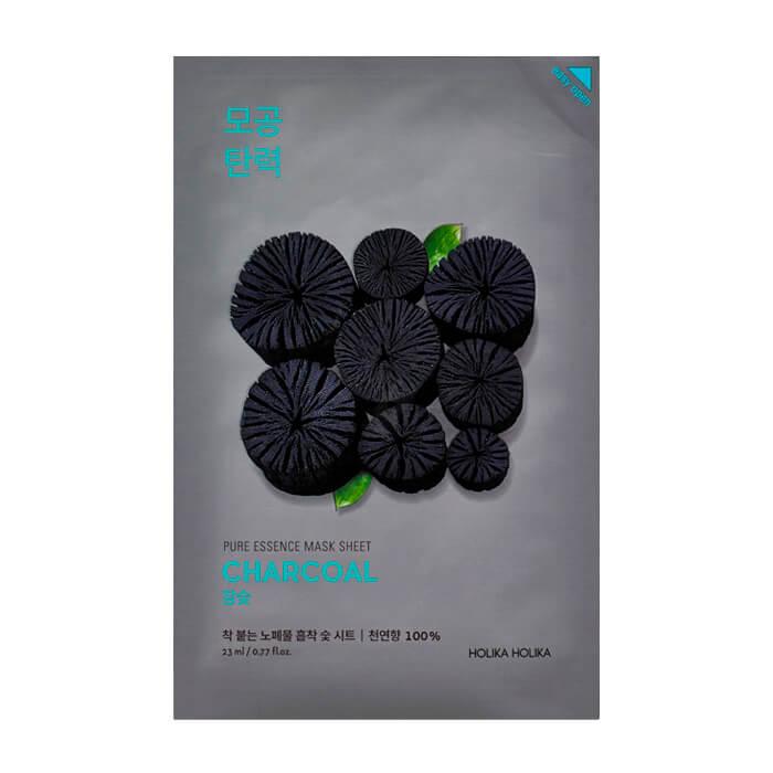 Купить Маска для лица Holika Holika Pure Essence Mask Sheet - Charcoal, Тканевая маска для сужения пор на лице с древесным углём, Южная Корея