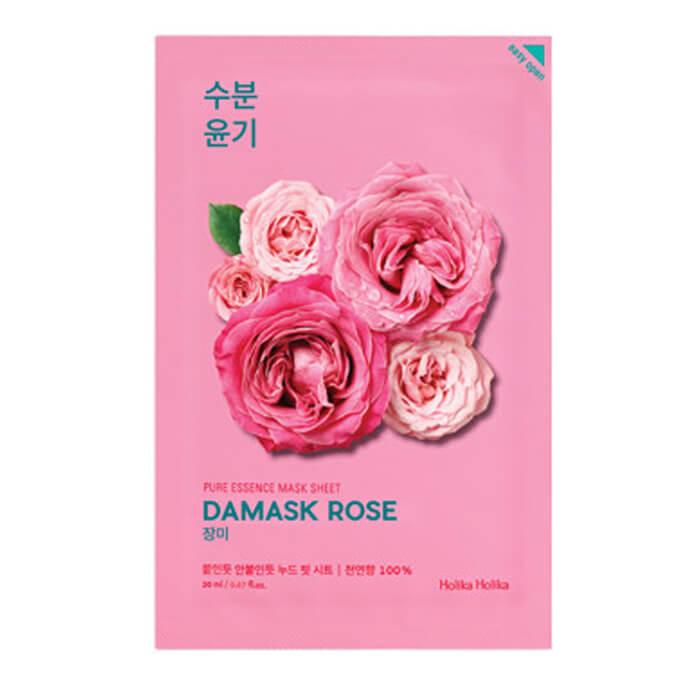 Купить Маска для лица Holika Holika Pure Essence Mask Sheet - Damask Rose, Увлажняющая тканевая маска для лица с дамасской розой, Южная Корея