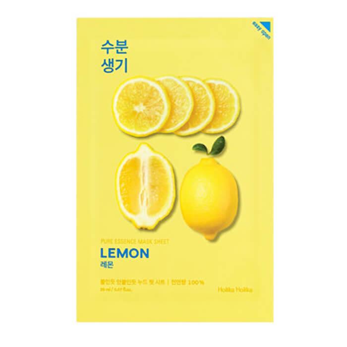 Купить Маска для лица Holika Holika Pure Essence Mask Sheet - Lemon, Тонизирующая тканевая маска для лица с лимоном, Южная Корея