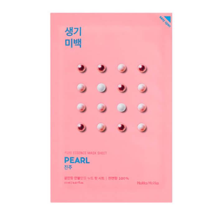 Купить Маска для лица Holika Holika Pure Essence Mask Sheet - Pearl, Осветляющая тканевая маска для лица с жемчугом, Южная Корея