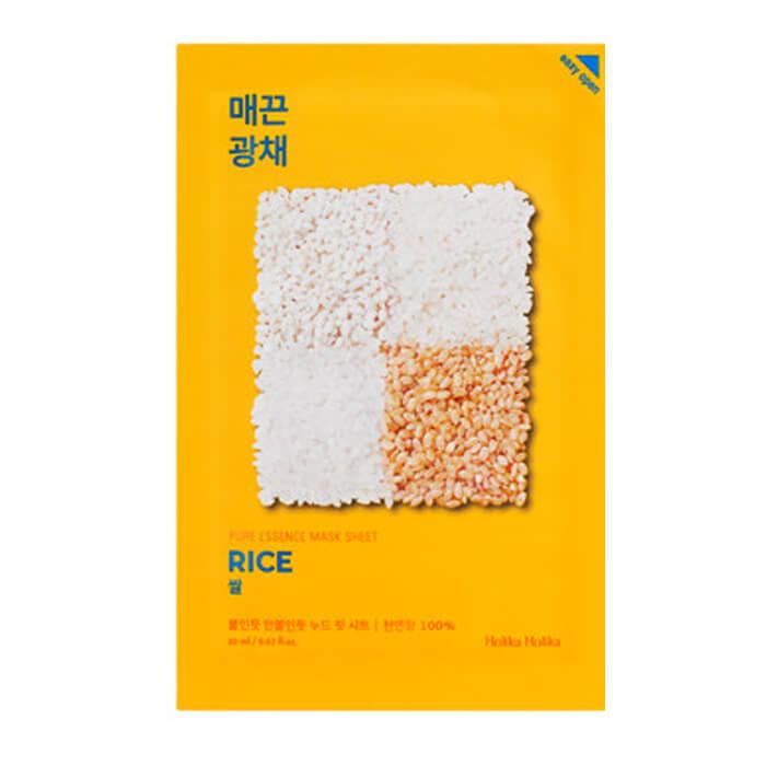 Купить Маска для лица Holika Holika Pure Essence Mask Sheet - Rice, Тканевая маска для лица против пигментации с экстрактом риса, Южная Корея