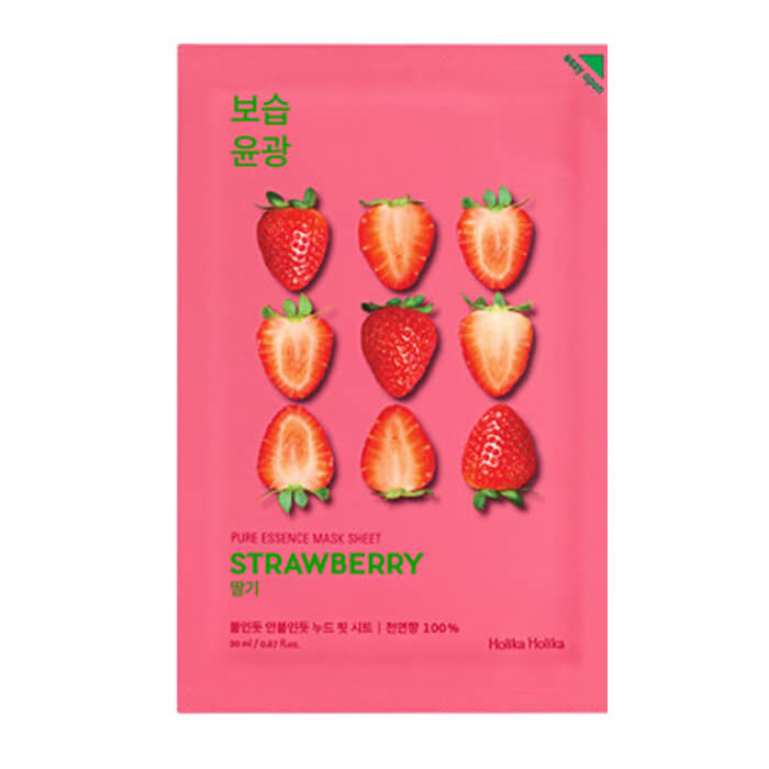 Купить Маска для лица Holika Holika Pure Essence Mask Sheet - Strawberry, Освежающая тканевая маска для лица с экстрактом клубники, Южная Корея