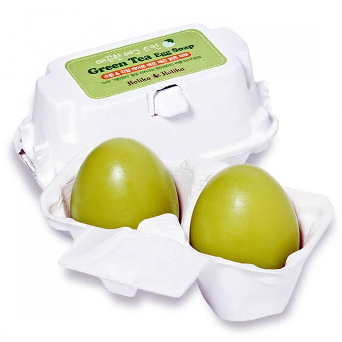 Купить Мыло для лица Holika Holika Green Tea Egg Soap, Мыло-маска для бережного очищения лица с зелёным чаем, Южная Корея