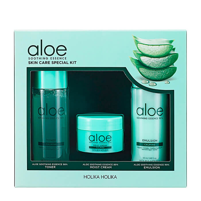 Набор с алоэ Holika Holika Aloe Soothing Essence Skincare Special Kit Набор миниатюр с экстрактом алоэ для ухода за лицом фото