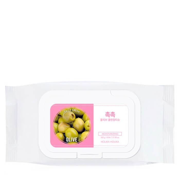 Купить Очищающие салфетки Holika Holika Daily Fresh Olive Cleansing Tissue, Салфетки для очищения кожи с экстрактом масла оливы, Южная Корея