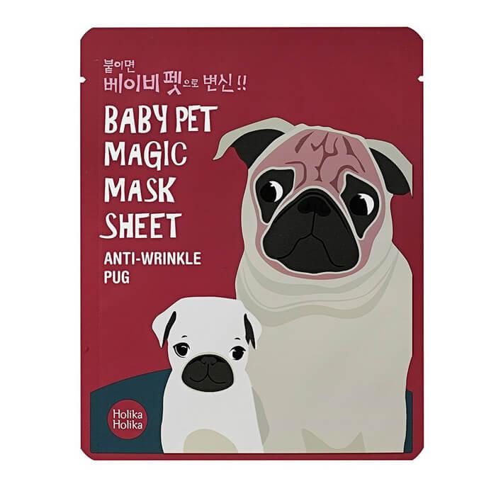 Купить Тканевая маска Holika Holika Baby Pet Magic Mask Sheet - Anti-Wrinkle Pug, Тканевая маска-мордочка для лица против морщинок в виде мопса, Южная Корея