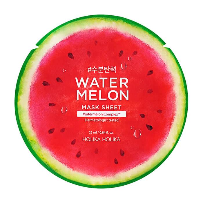 Купить Тканевая маска Holika Holika Watermelon Mask Sheet, Увлажняющая успокаивающая тканевая маска для кожи лица с экстрактом арбуза, Южная Корея