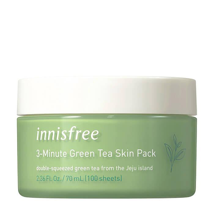 Маска для лица Innisfree 3-Minute Green Tea Skin Pack Интенсивная трехминутная маска с зелёным чаем для восстановления кожи фото