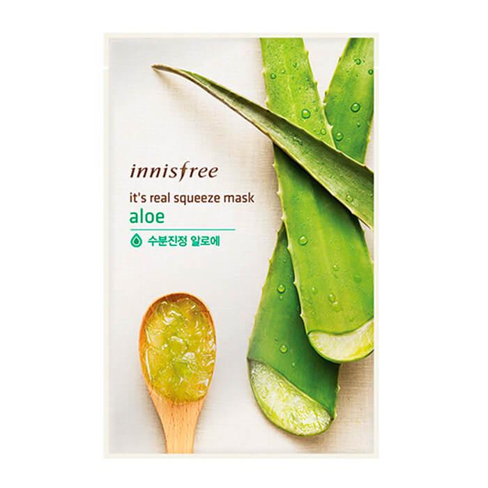 Купить Тканевая маска Innisfree It's Real Squeeze Mask - Aloe, Трехслойная тканевая маска для лица с экстрактом сока алоэ вера, Южная Корея