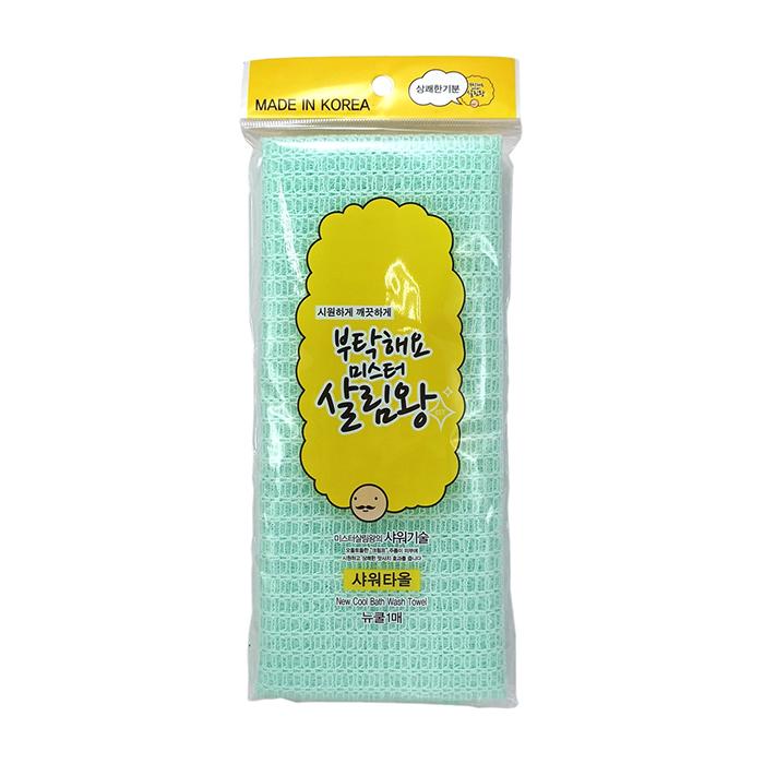Купить Мочалка для тела Insan New Cool Bath Wash Towel (средней жёсткости, светло-зелёная), Массажная мочалка для тела с нейлоновыми и полиэстеровыми волокнами, Южная Корея
