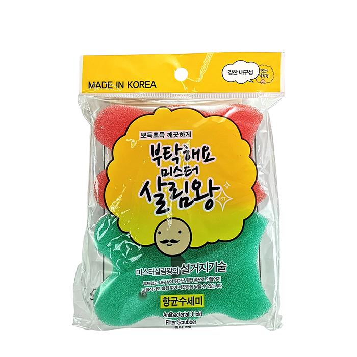 Купить Губка для мытья посуды Insan 3 Fold Filter Scrubber (2 шт.), Губка для мытья посуды трёхслойная с мягкой поверхностью, Южная Корея