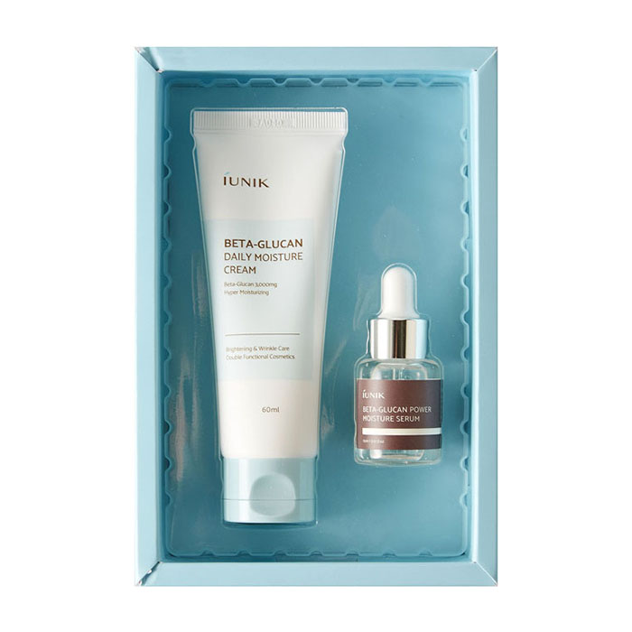 Купить Набор для лица iUNIK Beta Glucan Edition Skin Care Set, Набор из увлажняющего крема и сыворотки для кожи лица с бета-глюканом, Южная Корея