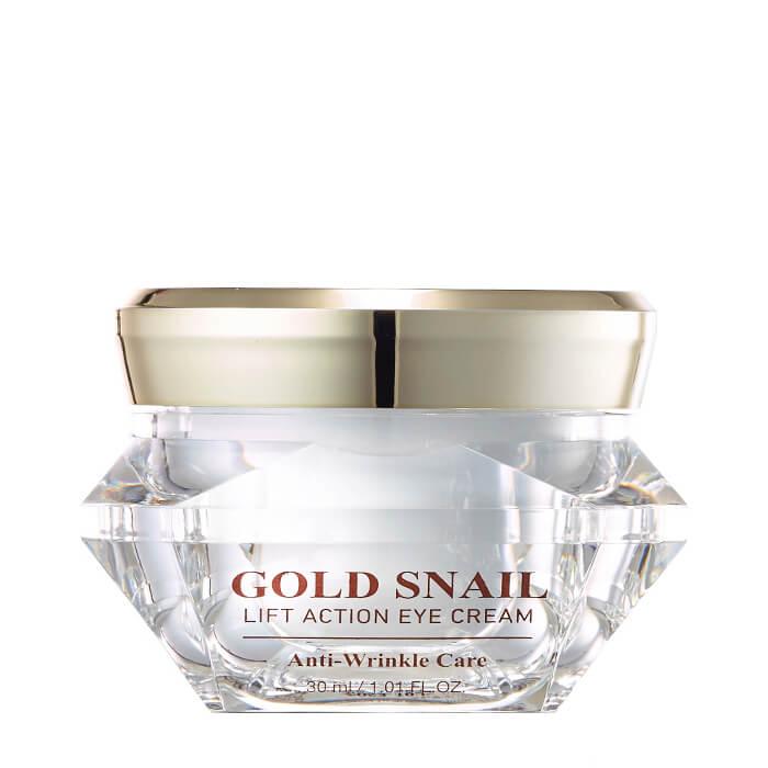 Купить Крем для век J&G Gold Snail Lift Action Eye Cream, Антивозрастной крем для век с коллоидным золотом и фильтратом улиточной слизи, J&G Cosmetics, Южная Корея