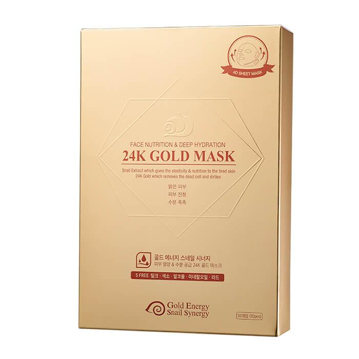 Купить Тканевая маска J&G Gold Snail Face Nutrition & Deep Hydration 24K Gold Mask (10 шт.), Питательная тканевая маска с коллоидным золотом и фильтратом улиточной слизи, J&G Cosmetics, Южная Корея
