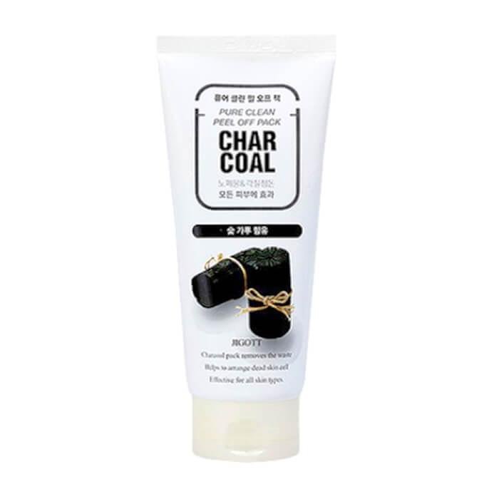 Купить Маска-плёнка Jigott Char Coal Pure Clean Peel Off Pack, Глубоко очищающая маска-плёнка для лица с порошком древесного угля, Южная Корея