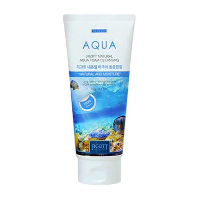 Купить Пенка для умывания Jigott Natural Aqua Foam Cleansing, Очищающая увлажняющая пенка для кожи лица с экстрактом гамамелиса, Южная Корея