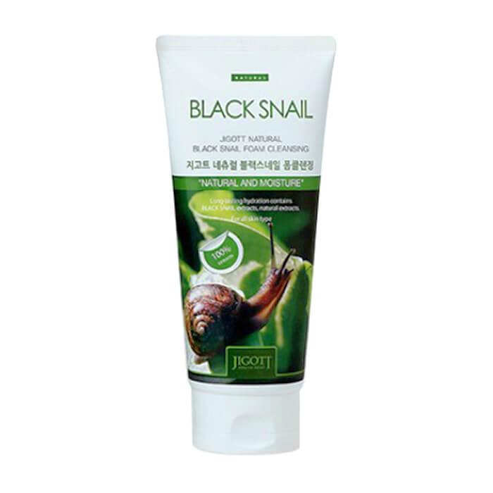 Купить Пенка для умывания Jigott Natural Black Snail Foam Cleansing, Очищающая восстанавливающая пенка для лица с экстрактом слизи чёрной улитки, Южная Корея