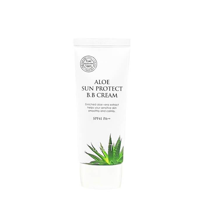 Купить ВВ крем Jigott Aloe Sun Protect BB Cream, Солнцезащитный успокаивающий ВВ крем для лица с экстрактом алоэ вера, Южная Корея