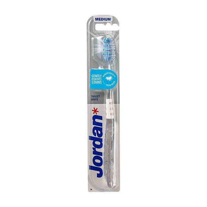 Купить Зубная щётка Jordan Target White Medium, Цвет #2 Прозрачная с серым, Зубная щётка средней жёсткости для удаления налета и поддержания белизны, Норвегия