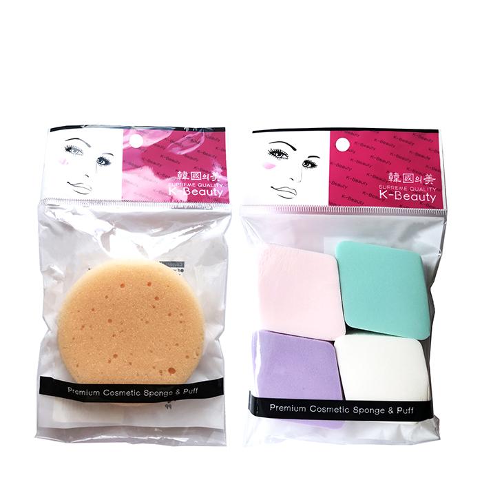 Купить Набор спонжей для лица K-Beauty Скрабирующий + Ромб (4 шт.), Набор из скрабирующего спонжа для очищения кожи и ромбовидных спонжей для нанесения тона, Южная Корея