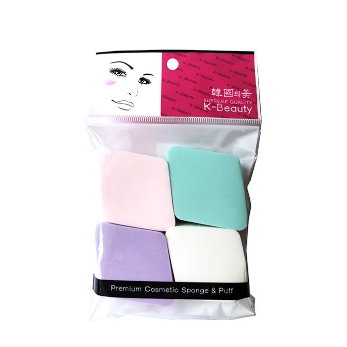 Купить Спонж косметический K-Beauty NR-11 Ромб (4 шт.), Спонжи косметические в форме ромба в индивидуальной упаковке, Южная Корея