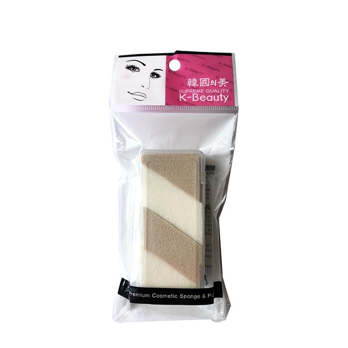 Купить Спонжи косметические K-Beauty NR-14 двухцветный (4 сегмента), Спонжи-сегменты двухцветные косметические в форме прямоугольника в кейсе, Южная Корея