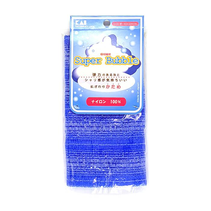 Купить Мочалка для душа Kai Super Bubble Blue, Нейлоновая мочалка для тела с особым объёмным плетением повышенной жёсткости, Япония