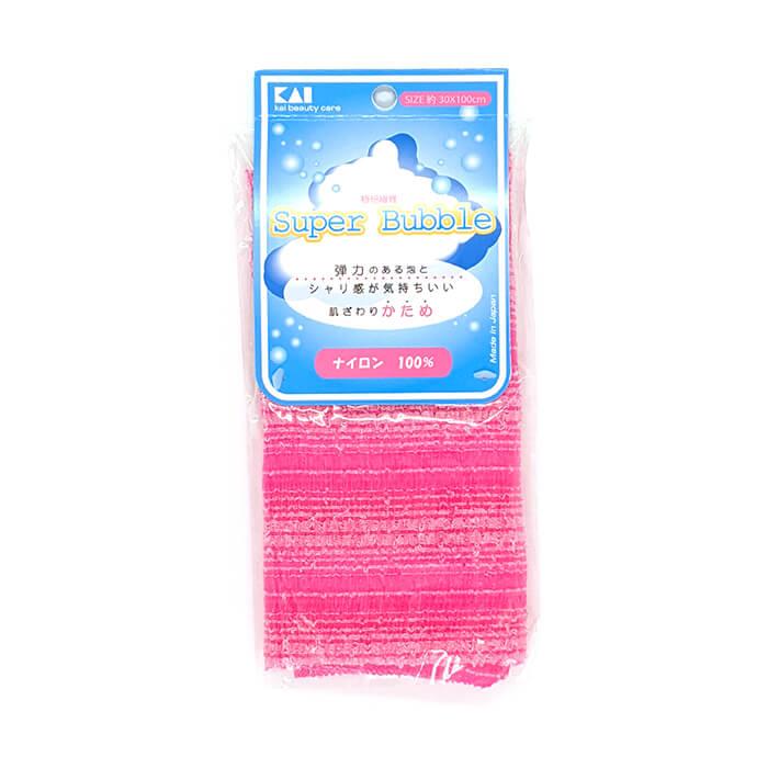 Купить Мочалка для душа Kai Super Bubble Bright Pink, Нейлоновая мочалка для тела с особым объёмным плетением повышенной жёсткости, Япония