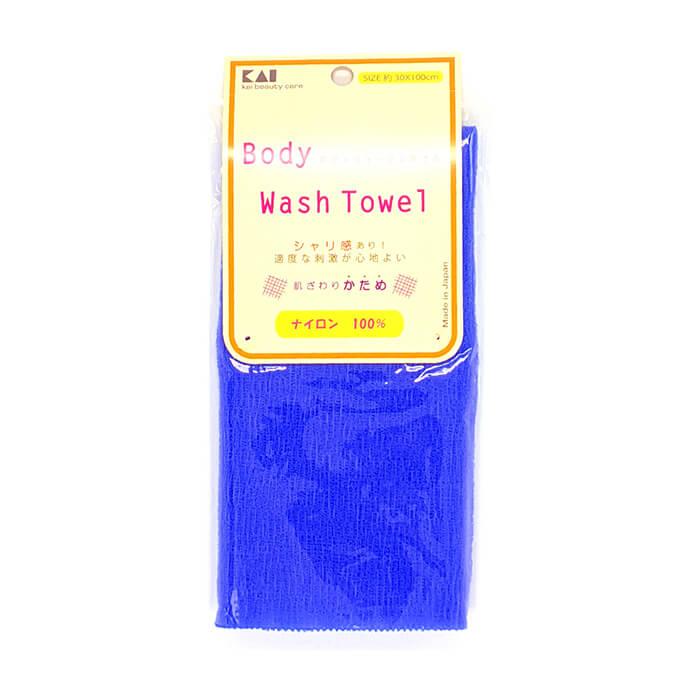 Купить Мочалка для душа Kai Wash Towel Bright Blue, Нейлоновая мочалка для тела с плотным плетением повышенной жёсткости, Япония