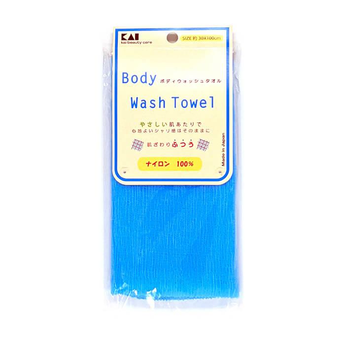 Купить Мочалка для душа Kai Wash Towel Pastel Blue, Нейлоновая мочалка для тела с плотным плетением средней жёсткости, Япония