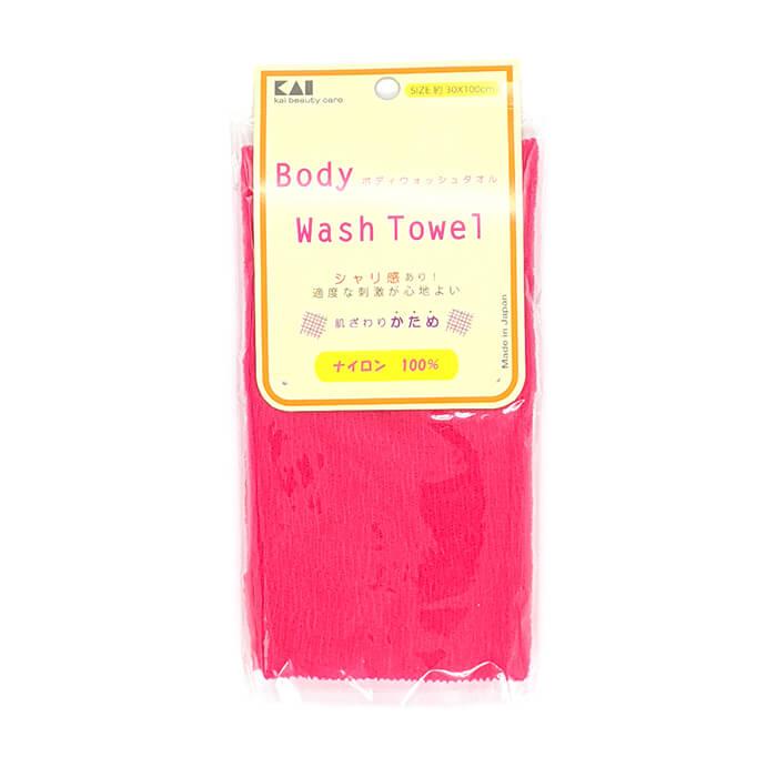 Купить Мочалка для душа Kai Wash Towel Raspberry, Нейлоновая мочалка для тела с плотным плетением повышенной жёсткости, Япония